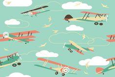 Bi-Plane Pattern Wall Mural