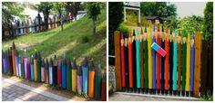 Priveste partea vesela a acestor proiecte! Garduri construite dupa forma creioanelor colorate