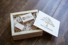 Custom keepsake boxes and wedding thumb drive, flash drives full of wedding photos.