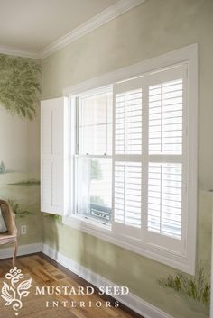 plantation shutters - Miss Mustard Seed 7 tips for laying out a narrow living room Shutters With Curtains, Bedroom Shutters, White Shutters, Interior Window Shutters, Interior Windows, White Shutter Blinds, Indoor Shutters For Windows, White Wood Blinds, Shutters Inside