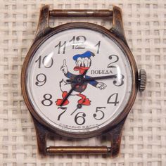 Vintage Rare USSR Russian POBEDA Classic Mechanical Child's Watch Donald Duck #Pobeda #Casual