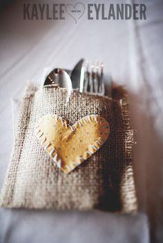 Burlap wedding ideas | DIY Burlap Wedding   Burlap silverware holder | Kaylee Eylander Photography | Swans Trail Farm Snohomish Wedding 10 Swans Trail Farm Wedding | DIY Farm Wedding