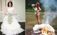 Woman Puts Wedding Dress on Fire on Divorce.!!