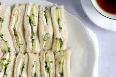 Cucumber and cream cheese finger sandwiches are a classic afternoon tea sandwich. This easy recipe is great for kids or adults and for tea parties. Cucumber Tea Sandwiches, Tea Party Sandwiches, Finger Sandwiches, Sandwich Recipes, Snack Recipes, Dessert Recipes, Healthy Recipes, Healthy Foods, Snacks