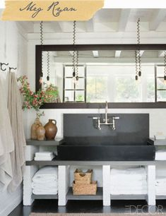 Another rustic bathroom idea... Meg Ryan's bathroom from Elle Decor