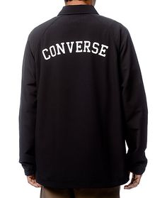 Lightweight and durable with a ripstop fabric construction, the Converse Perforated Black Coaches Jacket has a full snap button closure, two front slash pockets, and large Converse logo text across the back in white. Featured with a classic coaches jacket