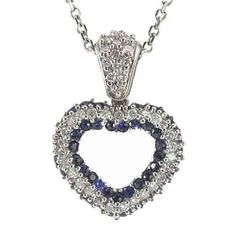 Diamond and Sapphire Heart Shape Pendant Da'Carli. $2385.00. This Pendant is set with 44 GH-SI diamonds weighing 0.55 ct. The Pendant is accented with 49 blue VS blue-sapphires with a total weight of 1.20 ct. (All diamonds 0.75 and up with a color range of D-I are GIA Certified). Free Pendant Box included with this item!. Call 1(888) 527-9422 for a different combination of gemstones, 18k, Yellow Gold, or Platinum. When calling, please, provide the model number: 9594ALT...
