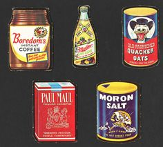 Wacky Packages Trading Cards Lot of 6 Die Cuts Boredom Coffee Muller Low Life Beer Quacker Oats Paul Maul and Moron Salt, Circa 1969 by 2kVintageShop on Etsy