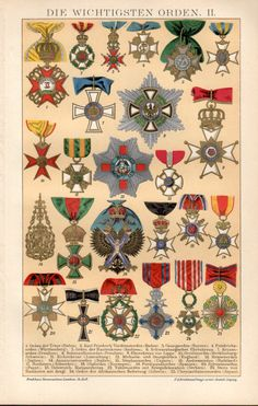 1898 Medals Orders & Decorations Antique Print by Craftissimo