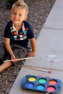 Fun summer idea,  Liquid Sidewalk Chalk.  1 cup cornstarch, 1 cup water, and food coloring.