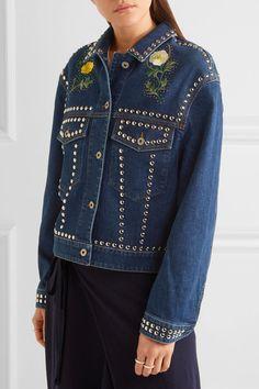 STELLA MCCARTNEY Oversized embellished denim jacket