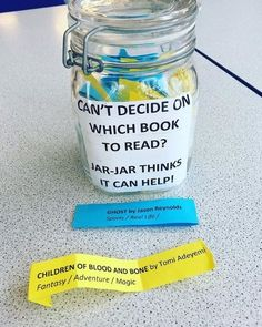Library Book Jar: Book Recommendations on the Go! Having a book jar in the library is a fun and easy way to generate discussions about books you& like students to read at school. School Library Decor, School Library Displays, Middle School Libraries, Elementary School Library, Kids Library, Library Lessons, Library Books, Library Ideas, Library Decorations