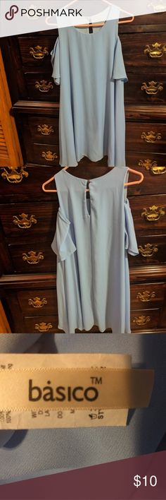 Basico cute baby blue cold shoulder swing dress! This dress is perfect if you want flowy and not tight. It's very cute knee length dress for church or some summer event! This dress is a size medium. Like new! Never worn! Basico Dresses