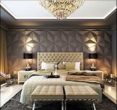 32 Nice Luxury Bedroom Design Ideas Looks Elegant - A number of interior designers have had successes from previous designs that capture the plain white room into something that can distract an owner de. Bedroom Ceiling, Home Decor Bedroom, Bedroom Wall, Bedroom Ideas, Bedroom Lighting, Bedroom Headboards, Bedroom Furniture, Light Bedroom, Grey Furniture