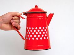 Hey, I found this really awesome Etsy listing at https://www.etsy.com/listing/198733187/vintage-red-and-white-polka-dot-enamel