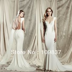 Backless Wedding Gown Lace Sleeves | ... Lace And Chiffon Sexy Mermaid Long Ivory Backless Wedding Dress