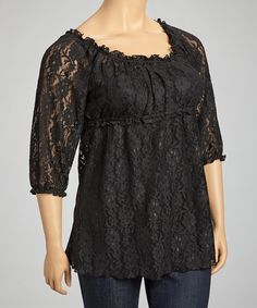 Take a look at this Black Lace Sheer Ruffle Scoop Neck Top - Plus by GLAM on #zulily today!