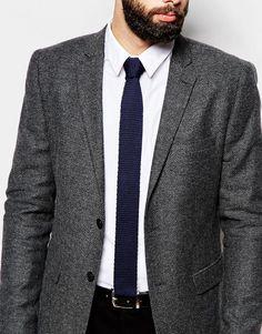 Image 3 - ASOS - Cravate en maille - Bleu marine