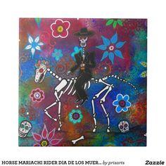 HORSE MARIACHI RIDER DIA DE LOS MUERTOS SMALL SQUARE TILE