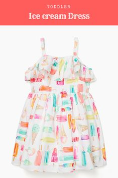 Toddler Ice Cream Dress! Cute Toddler Dress! Girls Summer Dress! #Clothes #clothing #shopping #shoponline #ad #dress #summer #kids #girl #toddler