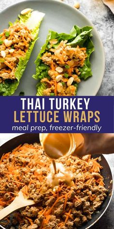 These Thai turkey lettuce wraps have a tangy and slightly spicy peanut sauce. Spoon the filling into crisp romaine lettuce leaves for an easy and lower in carbs dinner option. #sweetpeasandsaffron #lowcarb Slow Cooker Freezer Meals, Freezer Recipes, Meal Recipes, Turkey Recipes, Salad Recipes, Turkey Lettuce Wraps, Lettuce Wrap Recipes, Lettuce Leaves, Easy Healthy Meal Prep
