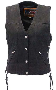 fad2097dd Women s Dual Inside Pocket Black Denim CCW Vest  VLC906GLK Wearing Black