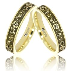 Verighete ATCOM Lux ROSA slim aur galben Bangles, Bracelets, Karate, Slim, Wedding, Jewelry, Fashion, Valentines Day Weddings, Moda