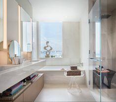 A sleek white bathro