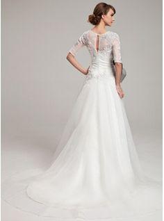 A-Line/Princess Scoop Neck Chapel Train Organza Wedding Dress With Lace Sash Beading (002004752) - JJsHouse