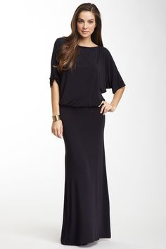 Go Couture Boatneck Dolman Sleeve Maxi Dress