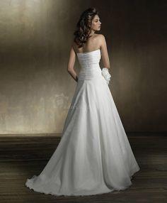 A-Line/Princess Strapless Chapel Train wedding dress for brides 2011 style(WDA1770)