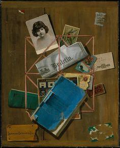 "John F. Peto (1854-1907)  ""Old Souvenirs"", circa 1881-1901  Oil on canvas  26 3/4"" H x 22"" W  Metropolitan Museum of Art"