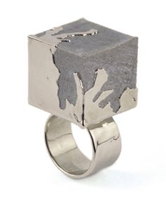REVIVRE RING, Concrete-Nickel. Nickel-plated concrete and brass ring shank - GALA curios is a jewellery and accessories label by designer Jasmine Noir.
