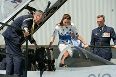 For decades nicely brought-up young ladies have been trained in the art of how to get in and out of sports cars without suffering a wardrobe malfunction. Today the Duchess of Cambridge went one better when she stepped into a jet fighter in high heels and a knee-length dress with an elegance that suggested that there is probably a Debrett's course in this sort of thing. She also added one more rule of her own: Don't let your husband make you sit in the back.