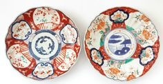 2 Antique Imari Japanese Plates Chargers Hand Painted 19th Century Fluted Edge