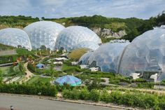 The Eden Project, Bodelva, Cornwall, Uk - from visitors center / The Eden Project is one of the UK's top gardens and conservation tourist attractions located in Cornwall.
