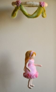 Waldorf inspired needle felted girls mobile: Girl in Pink with roses