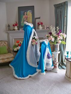 Beauty and the Beast 65 inch Turqouise / White Satin Bridal cape with Fur Trim Wedding Cloak Handmade in USA