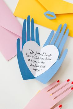"Cute valentine messages in hands. ""In joined hands there is still some token of hope"" quote"