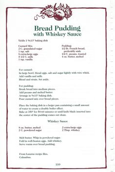 Bread Pudding w/ Whiskey Sauce Old Recipes, Vintage Recipes, Bread Recipes, Sweet Recipes, Cafe Recipes, Cookbook Recipes, Casserole Recipes, Baking Recipes, Jell O