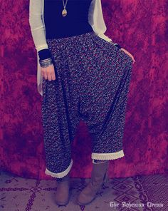 Bohemian harem pants organic cotton broidery Boho Hippie style Upcycled OOAK by TheBohemianDream