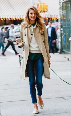 @roressclothes clothing ideas #women fashion beige trench coat jeans fall