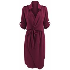 Bow Belt Work Casual Solid Color Lapel Women Shirt Dress ($12) ❤ liked on Polyvore featuring dresses, purple bow dress, shirt dress, bow dress, purple shirt dress and long shirt dress