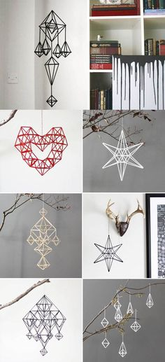 DIY Unique Hanging Decorations from Straws. So basically a Finnish himmeli. Straw Projects, Diy Projects To Try, Recycled Crafts, Diy And Crafts, Arts And Crafts, Diy Crafts With Straws, Diy Hanging, Hanging Decorations, Straw Decorations