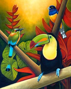 Tropical Birds - Costa Rican Art by Nathan Miller