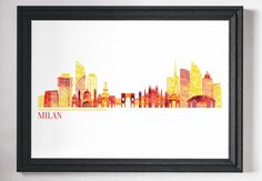 Minimalist travel print. Milan, bright and colourful cityscape print - many more cities and states are available in my store.  Most of my prints are now available for you to print at home in my other shop here: www.etsy.com/uk/shop/NordicDesignHouseCo   MY PRINTS  All of my prints are designed inhouse so if you require a different colour or alteration please just send me a convo and I will be more than happy to make any small change free of charge. Larger, more time consuming changes will…