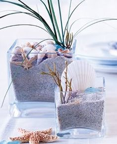 Easy to Make Table Centerpieces with Seashells, Flowers, Candles and more