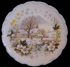 Royal Albert - Cottage Garden Year Series - Collector Plates- Winter
