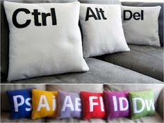 Computer and science pillows