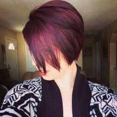 Dark cherry/plum long pixie cut